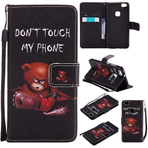 Everainy Huawei P10 Lite Hülle Silikon PU Leder Flip Wallet Gummi Schutzhülle mit Kartenfach Magnet für Huawei P10 Lite Brieftasche innen TPU Weich Bumper Handyhülle Hüllen (Don't Touch My Phone 1)