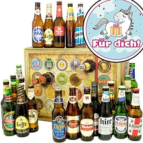Für Dich (mit Einhorn) | Bieradventskalender mit Bieren aus aller Welt | Einhorn Geschenk | INKL gratis Bierbuch