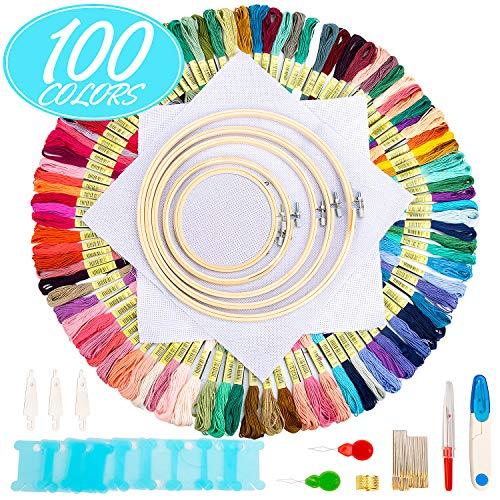 Aimego Stickerei Kreuzstich set 100 PCS Stickgarn Mehrfarbigen 5 Bambus Stickrahmen 2 Stoff Bestickt mit Tools Zubehör für Kreuzstich Stricken -