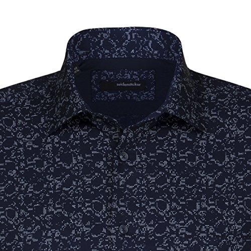SEIDENSTICKER Herren Hemd Modern 1/1-Arm Bügelleicht City-Hemd Kent-Kragen Kombimanschette weitenverstellbar blau (0017)
