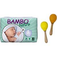 Bambo Nature Premium New Born Baby Diapers (0-1 month), 28 Extra Small, Bundle With Brainsmith Swoora Wooden Maracas…