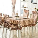ANHPI Schmutz-beständig Gitter Britische Art Haus Tischdecke Multi-Größe Mehrfarben Ein Satz 2 Ornamental Design,Coffee-110*150cm