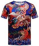 Pizoff Unisex Sommer leicht bunt bequem cool Digital Print T Shirts mit Drachen Meer Wolken Palast still 3D Muster Y1800-04-M