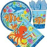 33-teiliges Party-Set * OCEAN BUDDIES * mit Teller + Becher + Servietten + Deko // Meere Fische Ozean Tiere Kindergeburtstag Kinder Geburtstag Mottoparty Luftballons