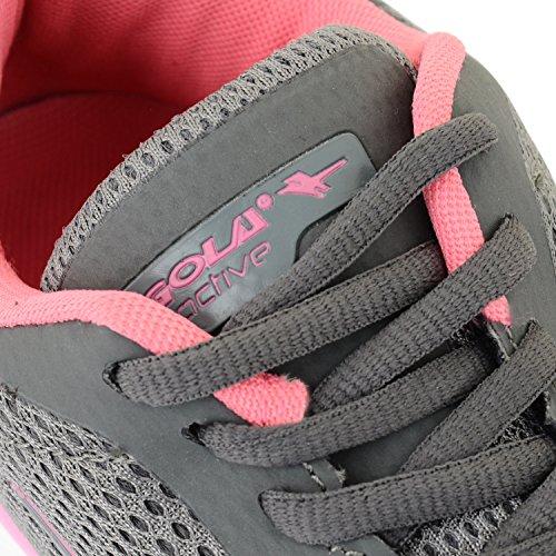 Gola Active Termas, leichtgewichtig, atmungsaktiv, Athletic Damen Sneaker Grau/Pink