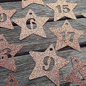 Adventskalender Zahlen 24 Anhänger Adventskalenderzahlen Sterne GLITTER Kupfer zum Anhängen Adventskalender-Zahlen 1-24…
