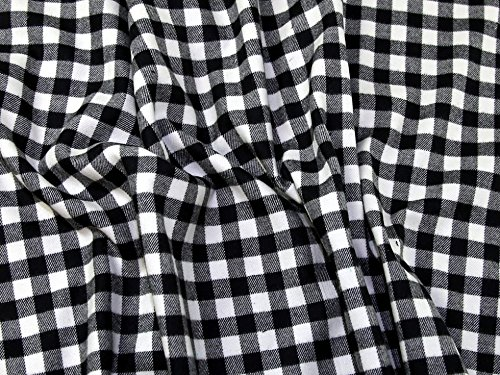 Plaid Check Flanell (Plaid Check Baumwolle Flanell Kleid Stoff schwarz & creme – Meterware)