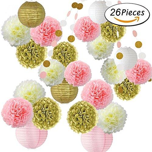 und Gold Party Dekoration Supplies Pompoms Blumen und Papier Laternen für Hochzeit Party 1. Baby Mädchen Geburtstag Baby Dusche Dekorationen mehrfarbig (Meerjungfrau-baby-dusche Dekorationen)