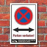 Schild Parken verboten Beide Richtungen Pfeil Halteverbot 3 mm Alu-Verbund 300 x 200 mm