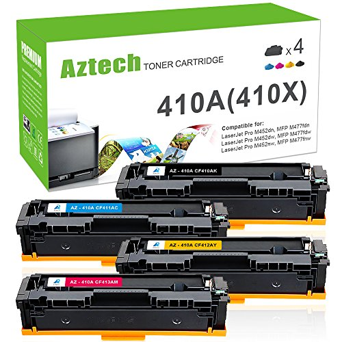 Aztech 4 Pack Replacement for HP 410A CF410A CF411A CF412A CF413A Ink Toner for HP M477fdw HP Color LaserJet Pro MFP M477fdw Toner Cartridges HP LaserJet Pro MFP M477fnw HP M452dn Toner HP M452nw HP MFP M477fdn Laserjet Pro Colour Printer