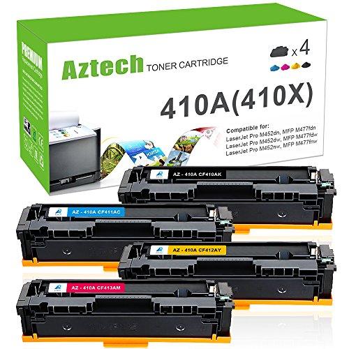 Aztech 4 Pack Kompatibel für HP 410A CF410A CF411A CF412A CF413A CF410X für M477fdw Toner HP Color Laserjet Pro MFP M477fdw M477fdn M477fnw M452dn M452nw m452dw M377dw Laser-multifunktionsdrucker -