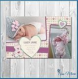 10x Personalisierte Baby Girl Dankeskarten Geburt Ankündigung Arrival Karte neuen Karte (BA1–10)
