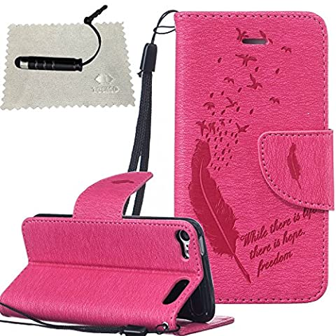 iPod Touch 6 Case Hot Pink,iPod Touch 6 Leather Case,TOCASO Book Style Lightweight Embossed Pattern Soft Silicone inner Back Cover PU Leather Magnet Anti Scratch Flip Wallet Case With Stand Function and ID Credit Card Slots Design Feather and Birds Pattern Slim Holster with Hand Strap Full Body protection Protective Case for iPod Touch 6 + 1x Black Stylus Pen + 1x Cleaning Cloths