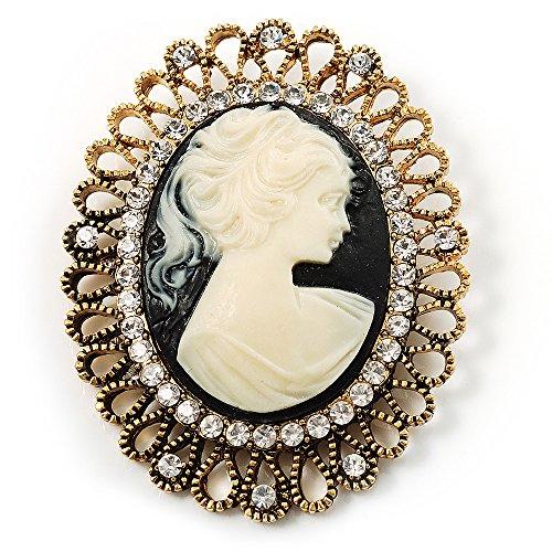 Unbekannt Silberton Vintage Antik Gold Cameo Brosche Glaskristall