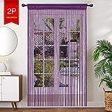 AIZESI 2 Stück Fadenvorhang Gardinen 90 x 200cm Insektenschutz Türvorhang Trennwand Fenster Vorhang Gardine Raumteiler Wohnzimmer(Dunkelviolett)