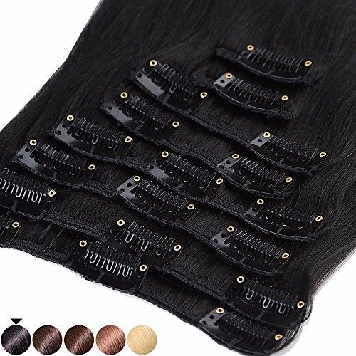 S-noilite® 45-55CM 8 Extensions de cheveux humains à clips naturels - 100% Remy hair - 8 Mèches / 18 Clips (50cm=70g, #01 Noir)