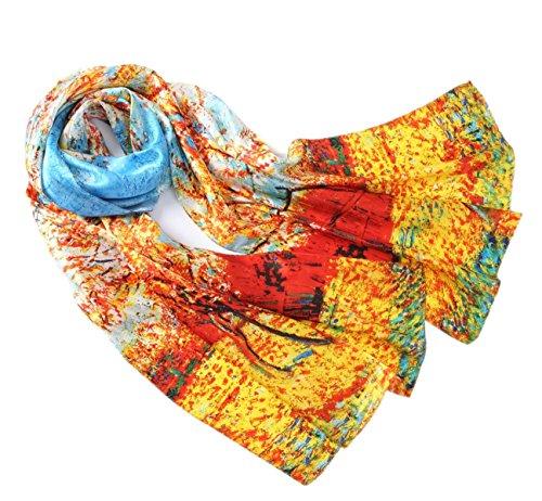 Prettystern 100% delle donne di seta sciarpa di opere darte di pittura van Gogh Stampa artistica Alberi di pesche fiore