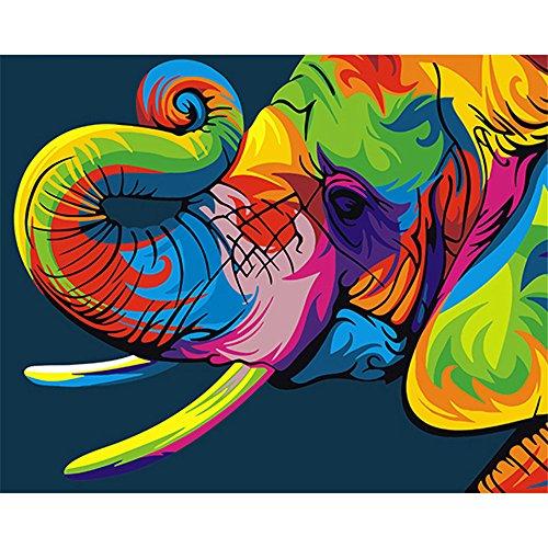 DIY Digital Malen nach Zahlen Codierung Ölgemälde gerahmt mit Box Elefant Wandmalerei Kit Acrylfarbe auf Leinwand Home Decor Wall Art 16×20 Zoll Geburtstag Hochzeit Weihnachten Danksagung Geschenk für Kinder und Erwachsene