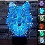 Lampe 3d Illusion Lichter der Nacht, kingcoo verstellbar 7Farben LED Acryl 3d Creative Stereo Touch Switch Visual Atmosphäre Licht Tisch, Geschenk für Weihnachten Modern Wolf