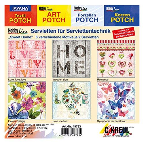 Kreul 49793 - Servietten für Serviettentechnik, mit 6 verschiedenen Sweet Home Motiven, 2 Stück je Motiv