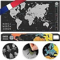 #benehacks Carte du Monde à gratter en GAULOIS - Carte à gratter Gratuite - Argent/Noir 84 x 44 cm y Compris l'emballage Cadeau
