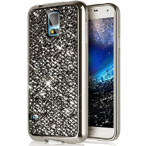 Galaxy S5 Hülle,Galaxy S5 Silikon Hülle,JAWSEU Schutzhülle Samsung Galaxy S5 Hülle [Glitzer Strass Ring Stand Holder], Luxus Glitzer Bling Diamant Strass Spiegel TPU Case für Samsung Galaxy S5 Bumper  Bling,Schwarz