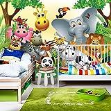 Fototapete 300x210 cm - ALLE TOPSELLER auf einen Blick ! Vlies PREMIUM PLUS - JUNGLE ANIMALS PARTY - Kinderzimmer Kindertapete Dschungel Zoo Tiere Giraffe Löwe Affe - no. 013