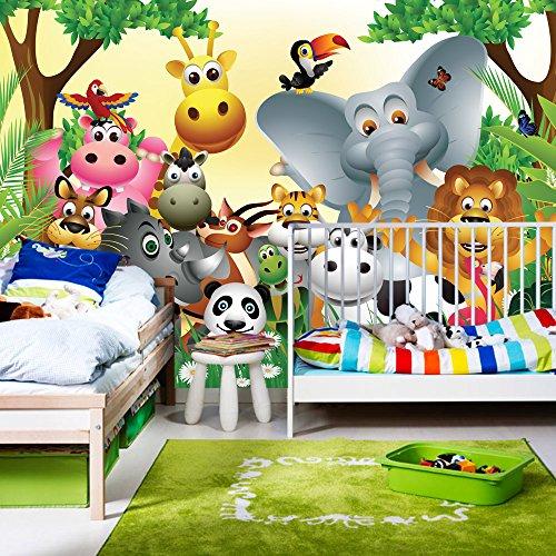 Fototapete 400x280 cm - ALLE TOPSELLER auf einen Blick ! Vlies PREMIUM PLUS - JUNGLE ANIMALS PARTY - Kinderzimmer Kindertapete Dschungel Zoo Tiere Giraffe Löwe Affe - no. 013