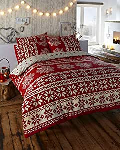 homemaker bedding parure de lit king size 100 flanelle de coton motifs rouge et cr me amazon. Black Bedroom Furniture Sets. Home Design Ideas