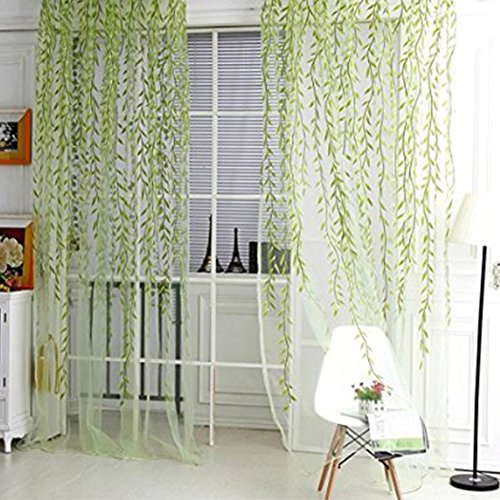 ANPI Weide Tüll Voile Tür Fenster Vorhang, schiere Fenster Voile Verkleidung Drapierte Vorhang Green Voile Vorhänge Fenster Behandlung, Grün (Drapierte Krawatte)