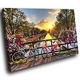 SC405GSC gerahmte Leinwanddruck Bunte Wand-Kunst - Amsterdam Brücke Fahrrad - Moderne Scenic Wohnzimmer Schlafzimmer Stück Wohnkultur Interior Design Einfach Hang Guide (60X40CM)