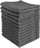 Toallas Utopia Toallas de algodón de lujo con conjunto de toallas (paquete de 12, gris, 30 x 30 centímetros) Toallas extra suaves para dedos, toallitas húmedas altamente absorbentes, deporte lavable a máquina y toallas de entrenamiento