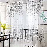 Wingbind Plum Flower Gemusterte Gardinen, Voile Vorhänge Vorhang Panel für Zuhause, Wohnzimmer, Schlafzimmer, Balkon, Hotel Dekoration 100 * 200 cm