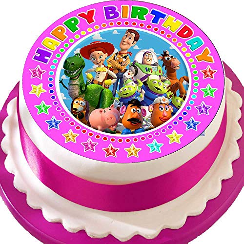 Toy Story Happy Birthday Pink 19,1 cm vorgeschnittenen Essbarer Zuckerguss Kuchen Topper Dekoration