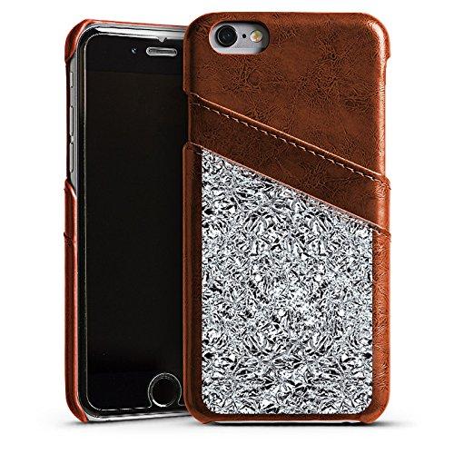 Apple iPhone 5 Housse Étui Silicone Coque Protection Paillettes Argent Brillance Étui en cuir marron