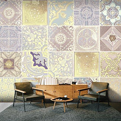 murando - PURO TAPETE - Realistische Tapete ohne Rapport und Versatz - Kein sich wiederholendes Muster - 10m Vlies Tapetenrolle - Wandtapete - modern design - Fototapete - Ornament Fliesen f-A-0568-j-d