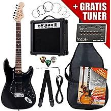 Rocktile ST Pack guitarra eléctr Set negro incl. ampl, bolsa,afinador, cable