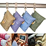 Allucky Bambus lufterfrischer mit aktivkohle,Luftreiniger Holzkohle Luftreiniger Tasche hängende Beutel für Schuhe, Haus, Küche und Autos stellten von 4 ein