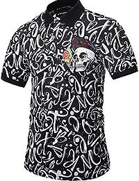 Yonbii Hommes manches courtes Golf Polo T-shirts Hauts Crâne de caractères 3D Imprimer Chemisier Casual