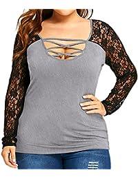 VJGOAL Mujeres de Gran tamaño de Moda Casual Sexy o-Cuello de Encaje Vendaje Hollow Mosaico Camiseta de…