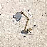 XSPWXN Moderne Schwingen Arm Holz Schreibtischlampe mit Metall Lampenschirme Tischlampe Wohnzimmer Schreibtisch Tisch Büro Nachttisch Leselampe Studie Arbeit Lampe Licht E27