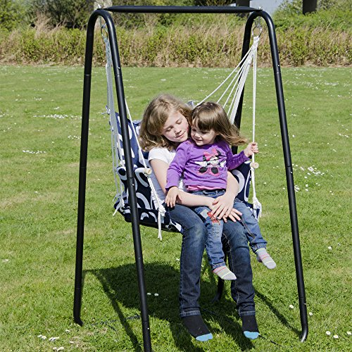 AMANKA Swing set with chair and stand frame   Metal Frame with hanging armchair   Rocking hanging swing with armrest & back support   Children and ...