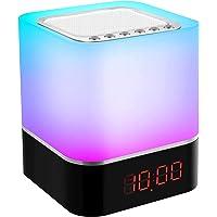 Swonuk Bluetooth Lautsprecher Wecker Dimmbar LED Nachttischlampe, RGB Farbwechsel Stimmungslicht Lichtwecker für Kinder…