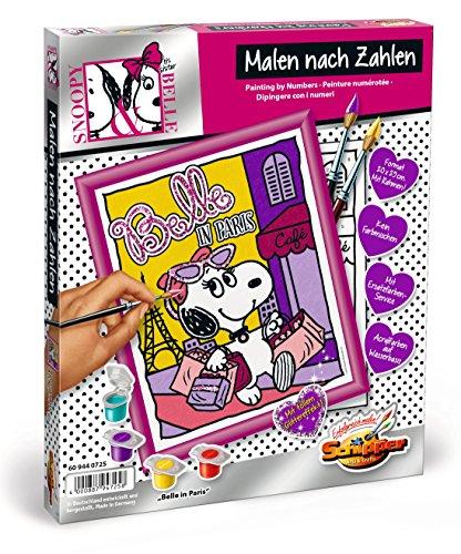 Schipper 609440725 - Malen nach Zahlen - Peanuts Belle in Paris, 20 x 25 cm (Charlie Belle)