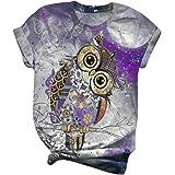 MBBYLIVES Tee O Neck T-Shirt Femme - À Manches Courtes imprimé Animal Chat Chien Oiseau Tee Top