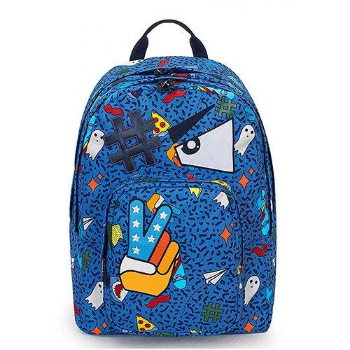 Zaino dial face invicta, blu, 38 lt, doppio scomparto, tasca porta laptop 15'', scuola & tempo libero