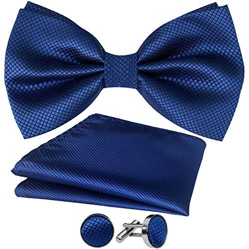 Dunkelblaue Italienischer Anzug (GASSANI 3-SET Dunkelblaue Fliege Grid Karo kariert | Schleife Manschettenknöpfe Einstecktuch Blau | Fliegenset zum Anzug Seide-Optik)