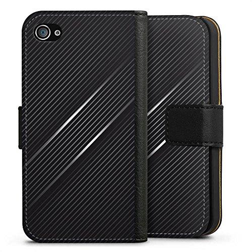 Apple iPhone X Silikon Hülle Case Schutzhülle Carbon Schwarz Look Muster Sideflip Tasche schwarz