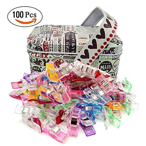 Nähen Clips,Näh klammern Nähen Klammer Bingolar Stoffklammern,2.7 x 1cm Sewing Quilting Crafting With Zinn box Random Color (100 Stück),Quilting Clips, Häkeln, StoffClips, Kunststoff Clips