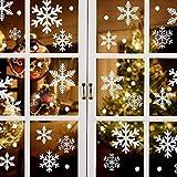 ASZKJ Schneeflocken Fenstersticker+Weihnachtsmann Weihnachtsbaum Rentier...